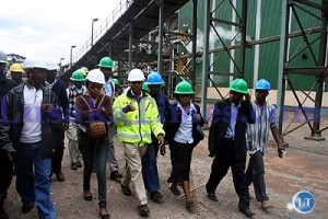 Zambia sugar Corporate affairs Manager Lovemore Sievu takes shareholders on a conducted tour of the sugar plant in Mazabuka.