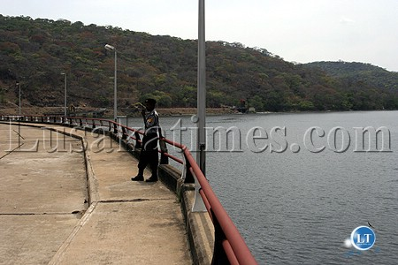 A security man on guard at the ZESCO LTD Kafue Gorge power station
