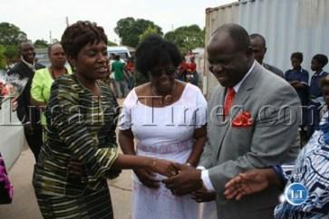 FILE Former First Lady Thandiwe Banda being welcomed by Matero MP Faustina Sinyangwe and BIGOCA church leader Bishop Peter Ndlovu to Matero