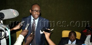 Andrew Kamanga is interviewed after the annual general meeting by his faction in Lusaka yesterday