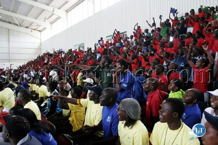 File: Youths and Lusaka residents watch sports events at the Olympic Youth Development Centre in Lusaka