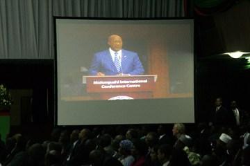 US Trade secretary Ron Kirk addressing delegates at the AGOA Forum in Lusaka