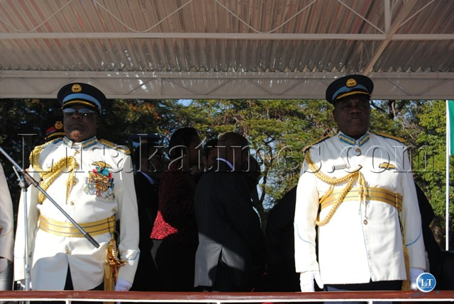 PRESIDENT Banda and Air Force Commander Lt. Gen. Andrew Sakala (l) take their position at the Commissioning Parade
