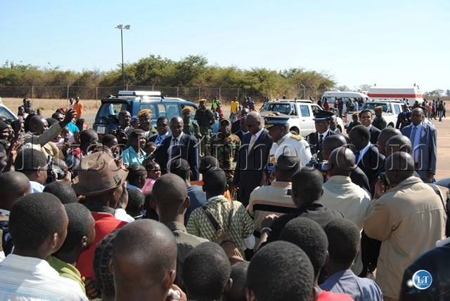 PRESIDENT Banda thronged by the crowd that came to witness the Commissioning Parade of Officers