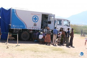Patients waiting to be attended to at a Mobile Hospital