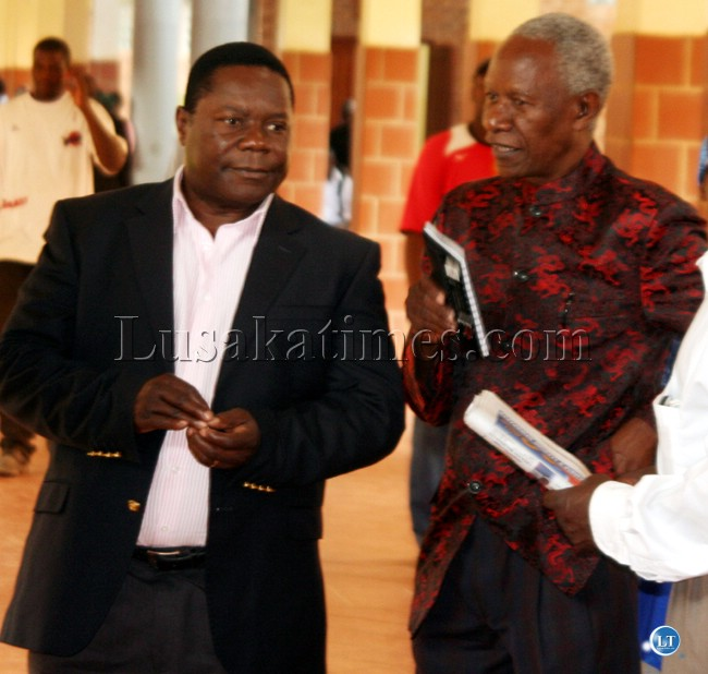 UPND special assistant to the president for special duties Edward Mumbi (L) with William Banda