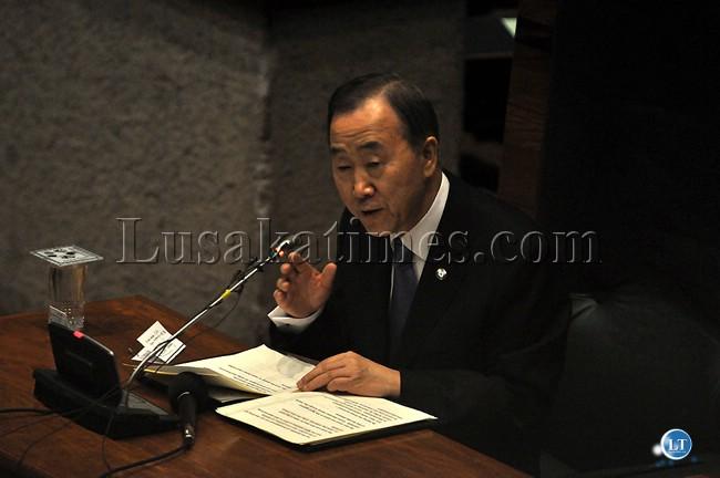 United Nations Secretary General Ban Ki-Moon addressing Parliament