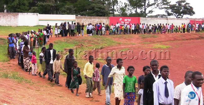 Kasama residents queue to see the AFCON trophy at Kasama Sports Stadium