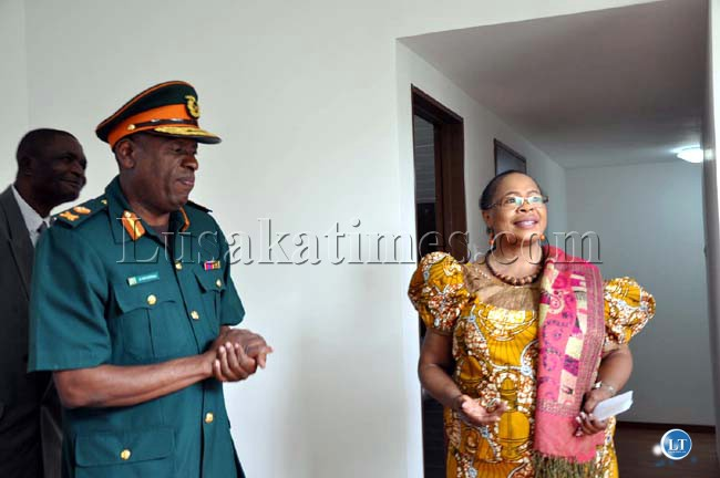 ZNS Commandant Major General Nathan Mulenga (left) and Ministry of Energy and Water Development Permanent Secretary Emelda Chola