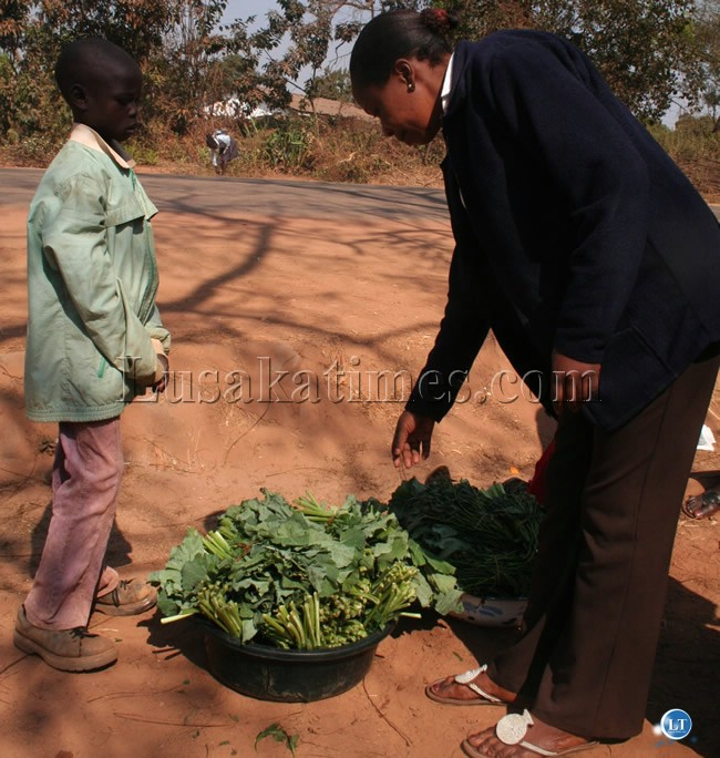 An unidentified woman buys fresh vegetables outside NAPSA building in Solwezi from 10-year old White Nguvu Zangamene area in Solwezi town
