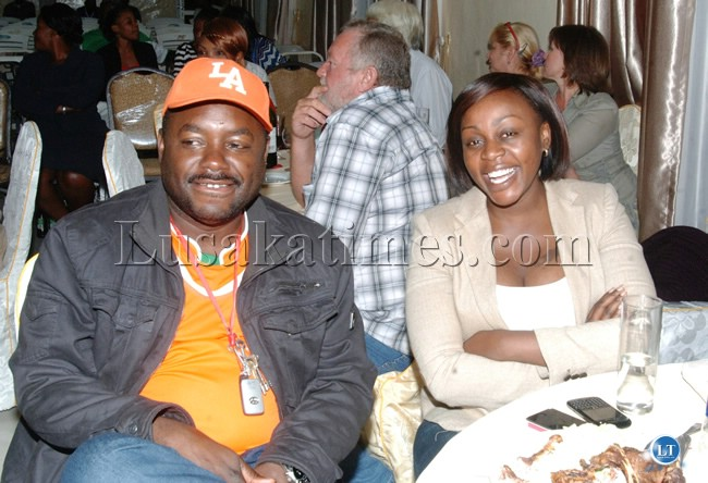 LUAPULA Province Minister Rodgers Mwewa and the Provincial Permanent Secretary Ann Mwitwa Mubanga during the Miss Environment 2012 beauty contest at TEJA Lodge in Mansa