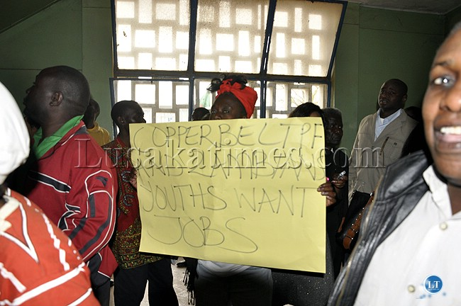 UPND cadres with placards inside the Lusaka Central Police Station