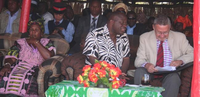 Zambezi West UPND member of parliament Charles Kakoma (c) with Vice president Dr Guy Scott and Provincial minister Josephine Limata at Likumbi lya Mize traditional ceremony of the Luvale people of Zambezi