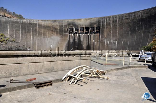 The dam wall at the Kariba North Bank Power station