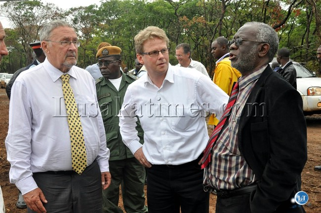 FILThen E: Vice president Dr Guy Scott (left) with Amatheone Agri Germany Chief Executive Officer Carl Bruhn (centre) and Labour Minister Fackson Shamenda (right) on a field visit during the launch of Amatheone Agri Zambia in Mumbwa