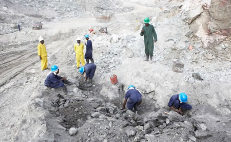 Miners at Gemfields' Kagem emerald mine in Zambia