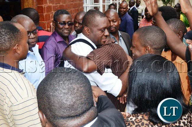 Mazabuka MP Gary Nkombo being mobbed by UPND cadres and other supporters after the Livingstone Magistrate Court released him