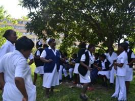 Protesting nurses at Kitwe Central Hospital (KCH)