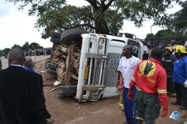The freightliner truck whose refrigerated container fell on two pedestrians at Wusakile Roundabout
