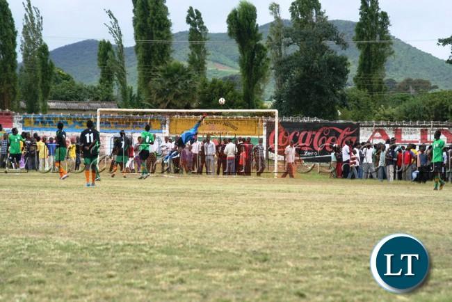 KAMZECHE Lupiya, parries the ball away during a FAZ talent identification match at David Kaunda Stadium in Chipata