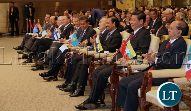 Chinese president Listens to president Sata address in China