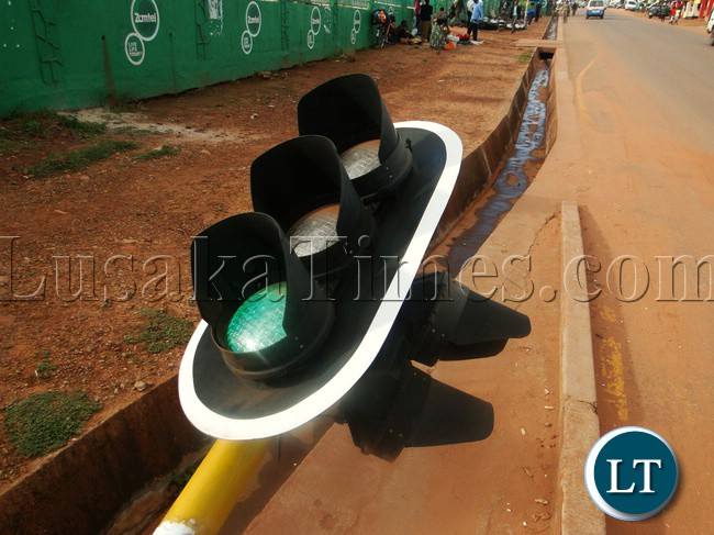 A knocked down traffic light in Kasama during the Good Friday procession