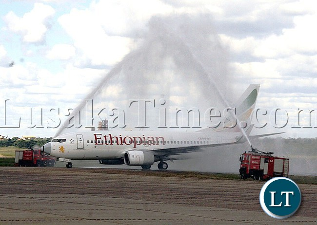 THE two fire engines at Simon Mwansa Kapwepwe International Airport spilling water over the Ethiopian Airlines aircraft in a picturesque arc of mist that glowed in bright sunshine during the inaugural flight to Ndola