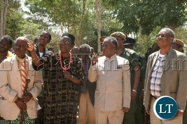 President Sata with Chief Ngambwe at his palace in Ngambwe  during his campaign tour for the Kapiri by-elections in Kapiri, April 13, 2013.
