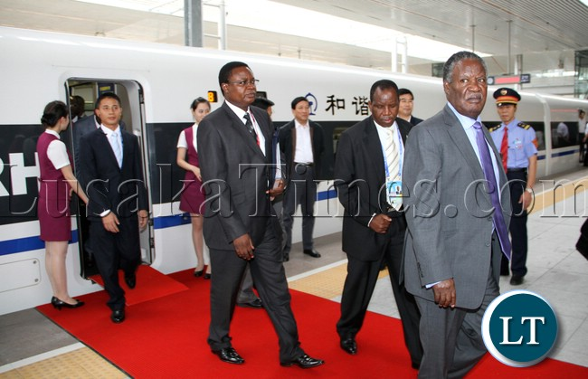 President Micheal Sata used a Chinese high Speed train CRH from Sanya to BOAO Summit on Sunday picture by Eddie Mwanaleza /Statehouse 07-04-2013.