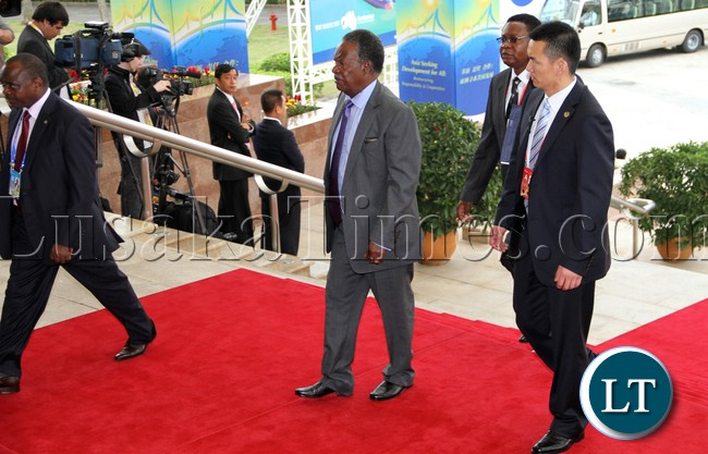 President Micheal Sata arrive at the BOAO Forum for Asia Annual conference in Hainan province of China . picture by Eddie Mwanaleza/ Statehouse 07-04-2013.
