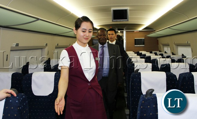 President Micheal Sata on Chinese high Speed train CRH from Sanya to BOAO Summit on Sunday picture by Eddie Mwanaleza /Statehouse 07-04-2013.