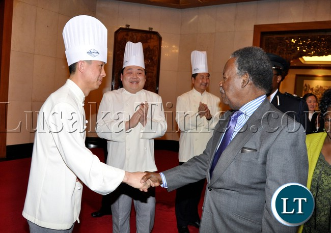 President Michael Sata Diayutai State Guest House staff shortly before departure from Beijing China to Lusaka on April 11,2013-Picture by THOMAS NSAMA