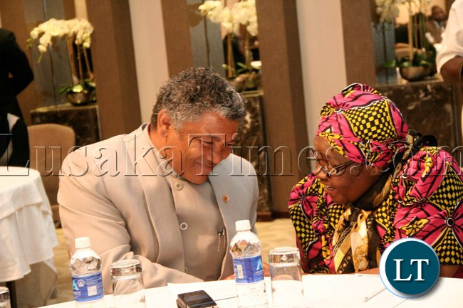 FILE: Kabwata MP Hon. Given Lubinda (l) discussing with Human Rights Commisioner Isabel Katongo Simukonda during the Launch of the Parliamentary Caucus on Children Strategic Plan 2012-2016 at Raddison blu Hotel
