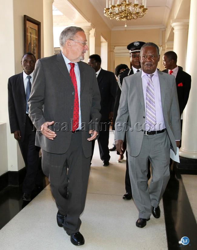 Dr Guy Scott with President Sata at Statehouse