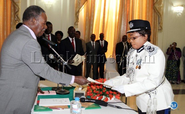 President Sata Swearing in Ms Lombe Kamukoshi as police Chief For Western Province