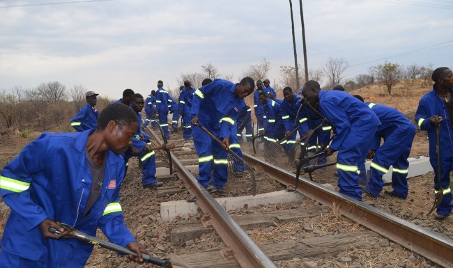 Zambia Railways workers in action during the commencement of the truck rehabilitation programme in Livingstone