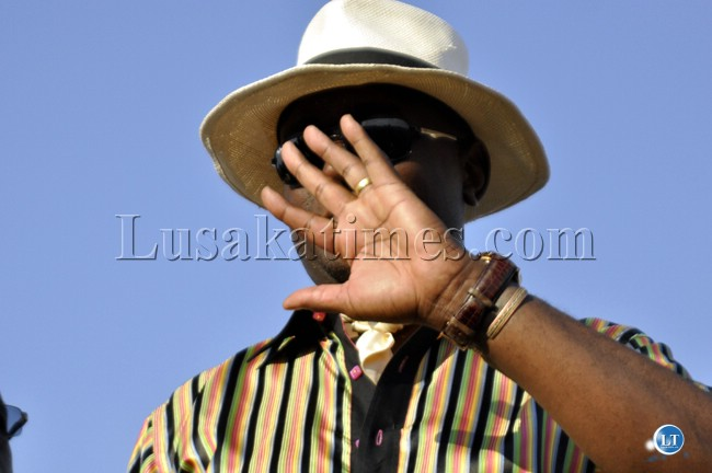 UPND Mazabuka Member of Parliament Garry Nkombo gestures during the party's rally in Mandevu