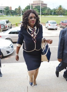 Tourism and Arts Minister Sylvia Masebo arrives at the Supreme Court buildings in Lusaka yesterday to attend sittings of a tribunal that has been appointed to investigate her