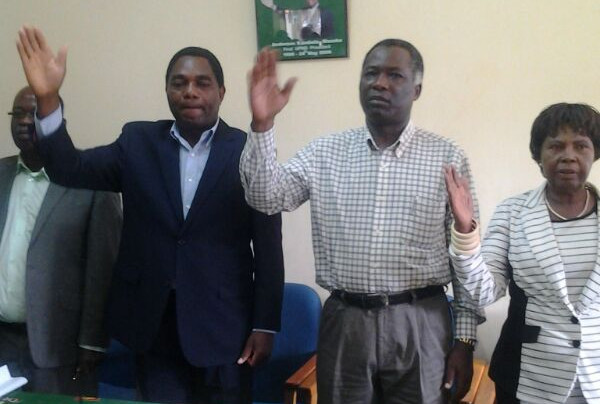 HH at a media briefing at the party's secretariat in Lusaka
