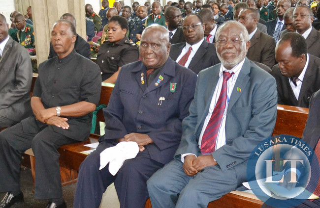 National assembly Deputy Speaker Mkhondo Lungu (left), First Republican President Kenneth Kaunda and Labour Minister Fackson Shamenda listen to a sermon during a church service at Cathedral of the Holy Cross in Lusaka