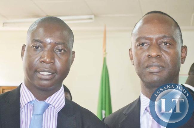 NEWLY-elected Lusaka Mayor Mulenga Sata (right) and his deputy Potipher Tembo