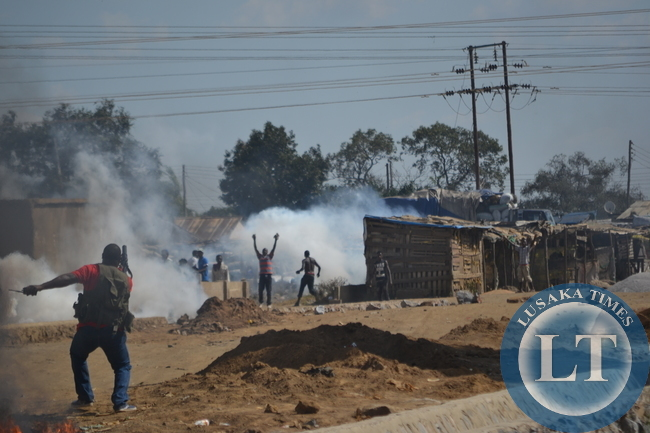 Riot Police in running battles at Lusaka's notorious Chibolya market, with suspected illicit drug dealers