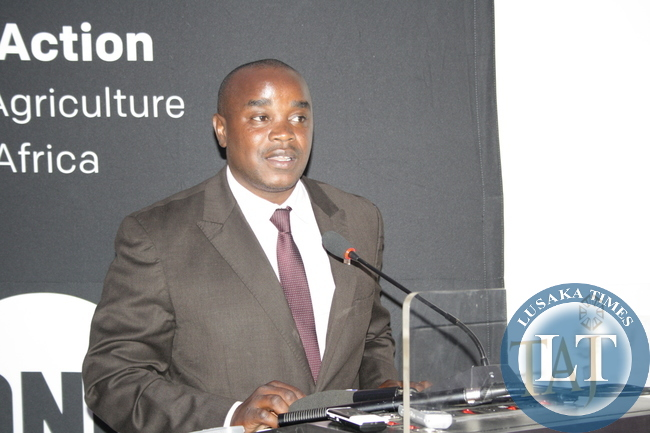 CSO-SUN National Cordinator William Chilufya delivering his opening remarks at the High Level Policy Forum on agriculture