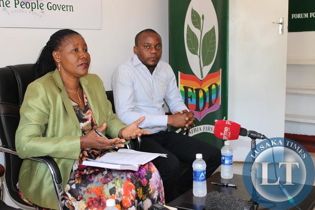 FDD leader Edith Nawakwi addressing the press