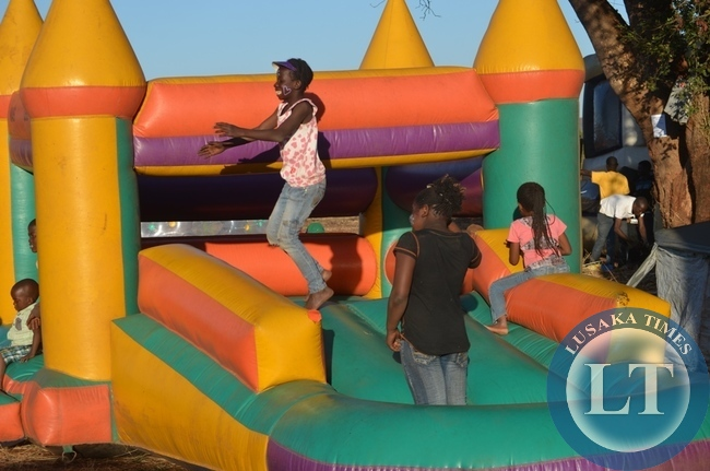 Children playing on the jumping castle at the just ended 8th Southern Tourism, Agricultural and Commercial Show Society (STACSS).
