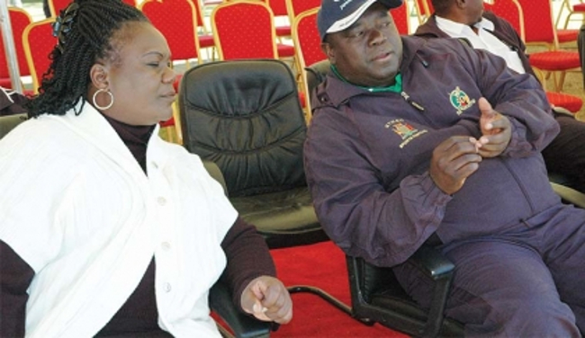 MINISTRY of Transport, Works, Supply and Communications Yamfwa Mukanga (right) with his Permanent Secretary Agnes Musunga during the sports festival at Barclays Sports Complex in Lusaka