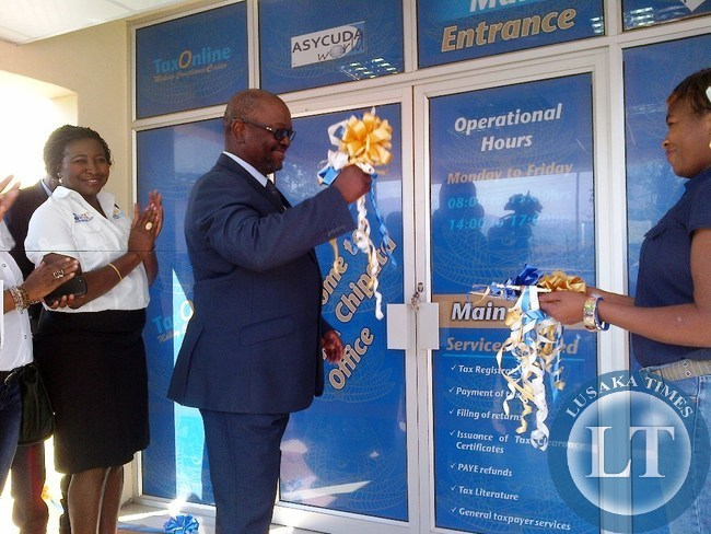 Zambia Revenue Authority (ZRA)Commissioner General Berlin Msiska during the official opening of Chipata domestic taxes offices