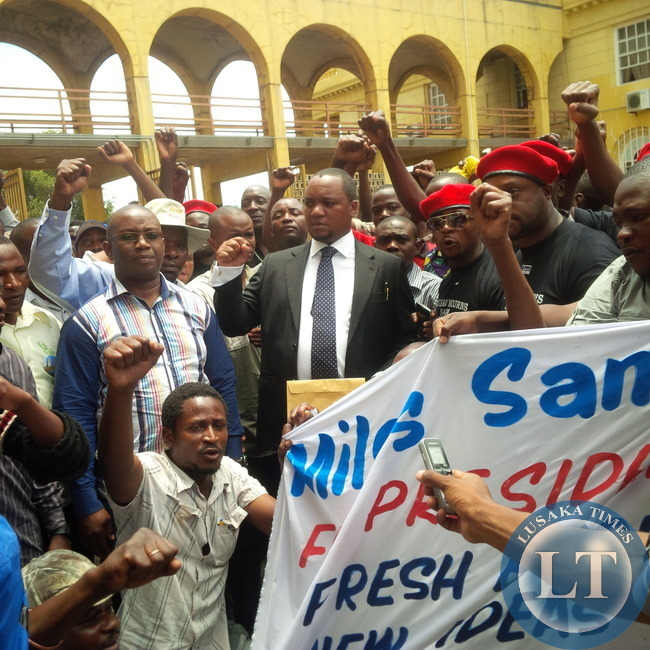 Miles Sampa with his supporters at Cabinet Office