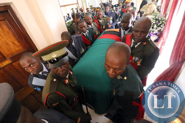President  Sata's body enters Statehouse