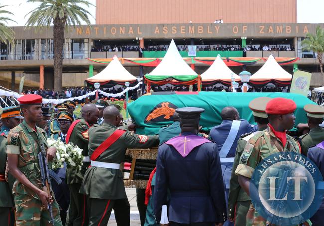 President Sata Body leaves Parliament Building